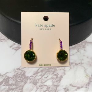 Kate Spade new york Reflecting Pool Pave Round Drop Earrings in green